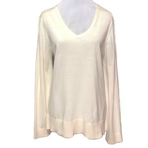 Loft Loose Fitting V-Neck Sweater in Cream  XL GUC